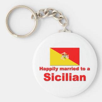 Casado feliz con un siciliano llavero redondo tipo pin