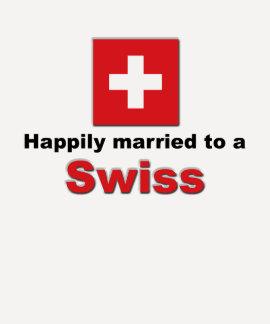 Casado feliz con un suizo camiseta