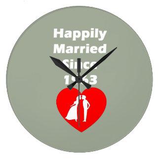 Casado feliz desde 1963 reloj redondo grande