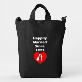 Casado feliz desde 1973 bolsa de lona duck