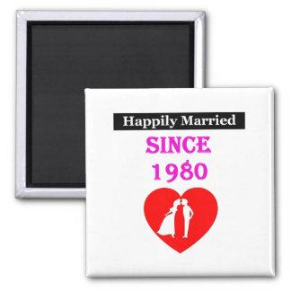 Casado feliz desde 1980 imán cuadrado