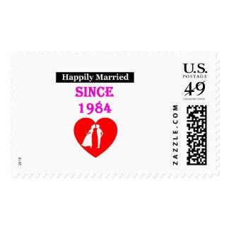 Casado feliz desde 1984 sellos postales