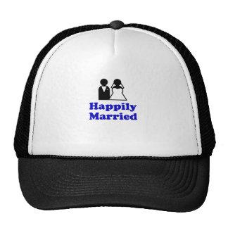 Casado feliz gorros bordados