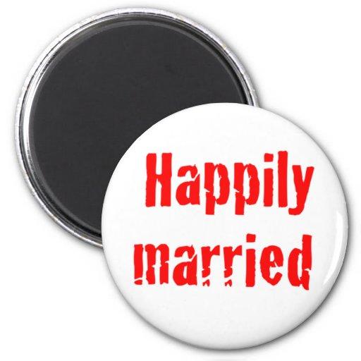 casado feliz imán redondo 5 cm