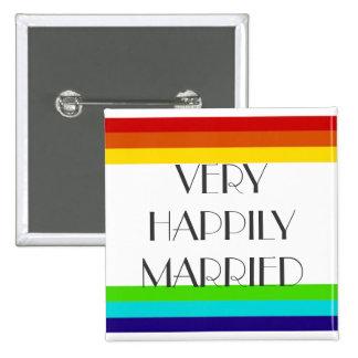 Casado muy feliz pin cuadrado
