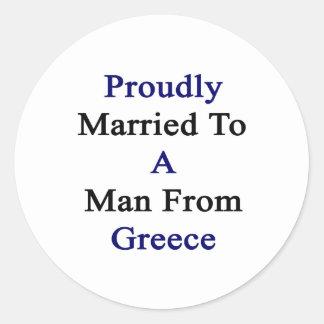 Casado orgulloso con un hombre de Grecia Pegatina Redonda