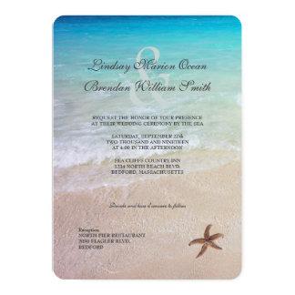 """Casado por el boda del destino de la playa del mar invitación 5"""" x 7"""""""