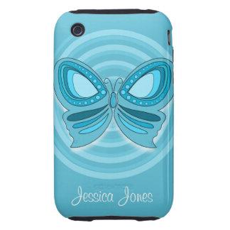 Casamata azul del iPhone 3G/3GS de la mariposa Tough iPhone 3 Protectores