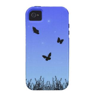 Casamata azul Tough™ del iPhone 4 de las mariposas iPhone 4 Carcasa