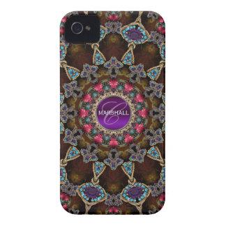 Casamata bohemia del monograma del arte de la tapi iPhone 4 protectores