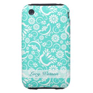 Casamata floral del iPhone 3G/3GS de la turquesa Tough iPhone 3 Protectores