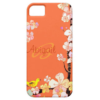 Casamata floral del iPhone 5 del pájaro y de la fl iPhone 5 Coberturas