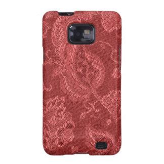 Casamata floral del rojo del arándano del vintage samsung galaxy SII fundas