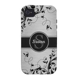 Casamata floral negra de plata del iPhone 4 de los iPhone 4 Carcasas