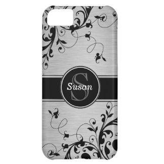 Casamata floral negra de plata del iPhone 5 de los
