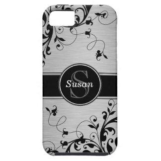 Casamata floral negra de plata del iPhone 5 de los iPhone 5 Funda
