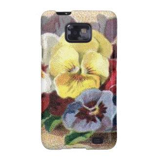 Casamata floral Samsung de los pensamientos Galaxy S2 Fundas