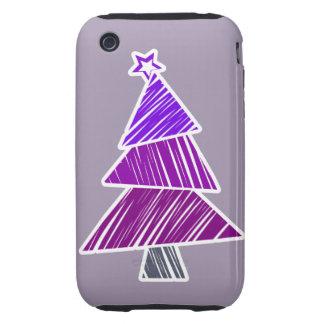 Casamata incompleta púrpura del árbol de navidad carcasa resistente para iPhone