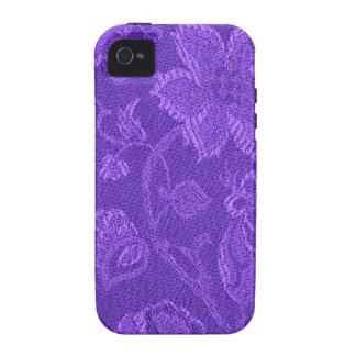 Casamata púrpura Amethyst floral del vintage retro iPhone 4 Funda