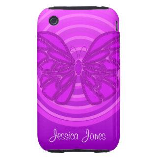 Casamata púrpura del iPhone 3G/3GS de la mariposa iPhone 3 Tough Funda