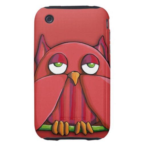 Casamata roja Tough™ del iPhone 3G/3GS del búho iPhone 3 Tough Coberturas