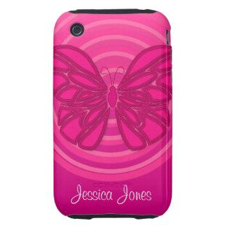 Casamata rosada del iPhone 3G/3GS de la mariposa iPhone 3 Tough Funda