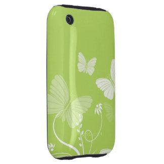 Casamata verde del iPhone 3G 3GS de las mariposas Tough iPhone 3 Funda