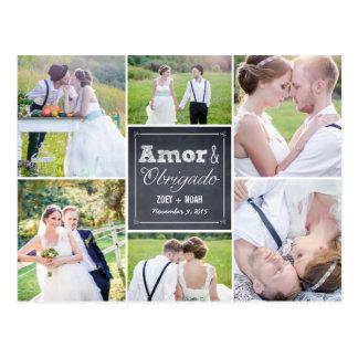 Casamento colagem riscado obrigado cartão postcard