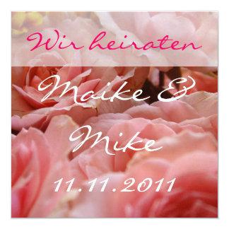 Casamos tarjeta de invitación - (de rosas Rosas) Invitación 13,3 Cm X 13,3cm