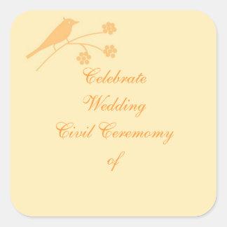 Casando ceremonia inmóvil y civil modifique para pegatina cuadrada