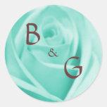 Casando el azul y el chocolate - pegatinas etiqueta redonda