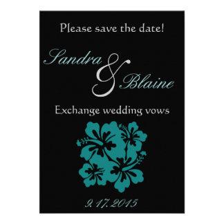 Casando el sistema - flores del trullo del hibisco invitaciones personalizada
