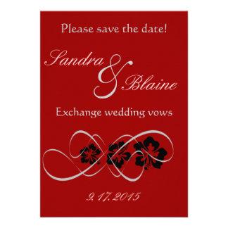 Casando el sistema - los hibiscos prosperan rojo invitacion personal