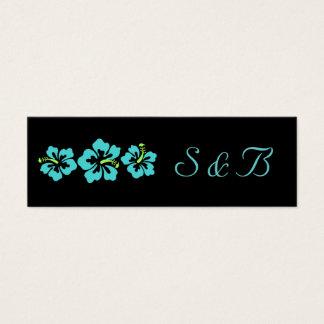 Casando el sistema - tropical - azul del hibisco tarjeta de visita pequeña