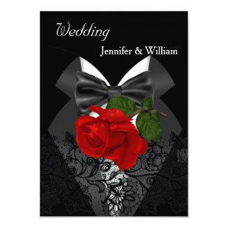 """Casando el smoking blanco negro 2 color de rosa de invitación 4.5"""" x 6.25"""""""