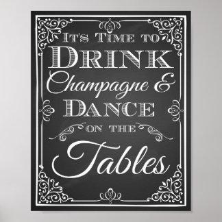 Casando estrellas de la danza del champán de la póster