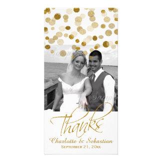 Casando falsos puntos del brillo del oro gracias plantilla para tarjeta de foto