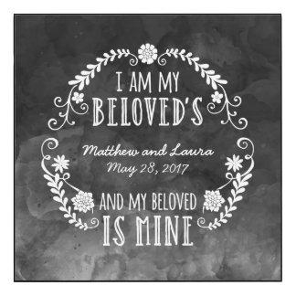 Casando la acuarela negra, soy mi querido impresión en madera