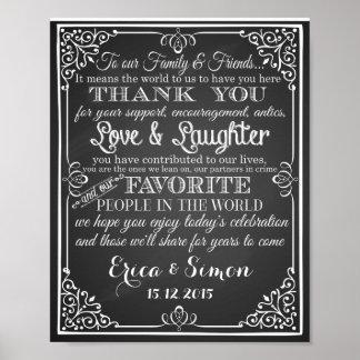 """Casando la impresión """"gracias"""" pizarra del vintage póster"""