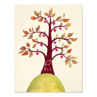 """Casando la talla del árbol del corazón del amor invitación 4.25"""" x 5.5"""""""