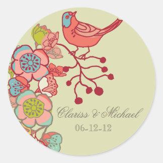 Casando los pájaros banales modificados para pegatina redonda