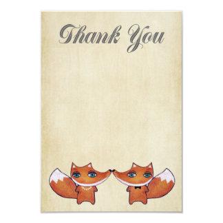 Casando pares del Fox rojo gracias las tarjetas de Invitación 8,9 X 12,7 Cm