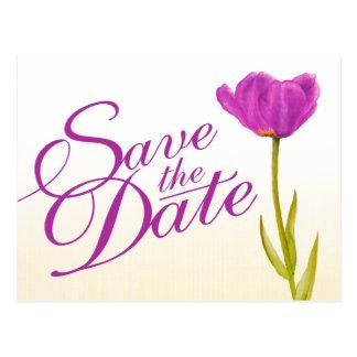 Casando reserva el arte púrpura del tulipán de la  tarjeta postal