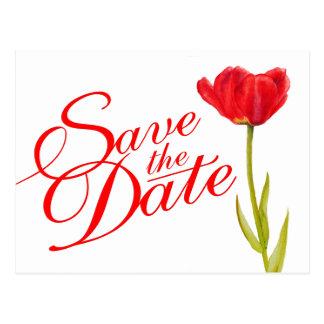 Casando reserva el arte rojo del tulipán de la pos postales