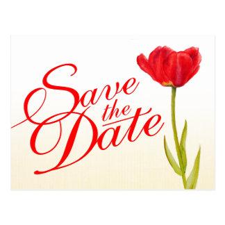 Casando reserva el arte rojo del tulipán de la pos tarjetas postales
