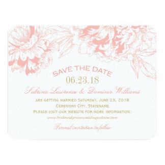 Casando reserva el diseño floral coralino del invitación 10,8 x 13,9 cm