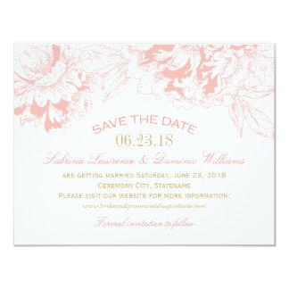 """Casando reserva el diseño floral coralino del invitación 4.25"""" x 5.5"""""""