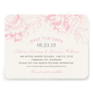 Casando reserva el diseño floral rosado del Peony Invitaciones Personales