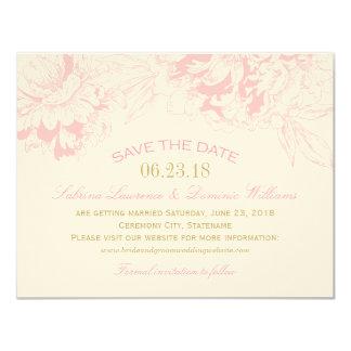 """Casando reserva el diseño floral rosado del Peony Invitación 4.25"""" X 5.5"""""""