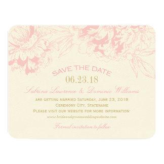 Casando reserva el diseño floral rosado del Peony Invitación 10,8 X 13,9 Cm